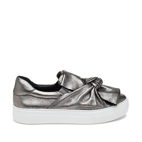 J/Slides NYC Audra Metallic Leather Bow Slip-On Sneaker