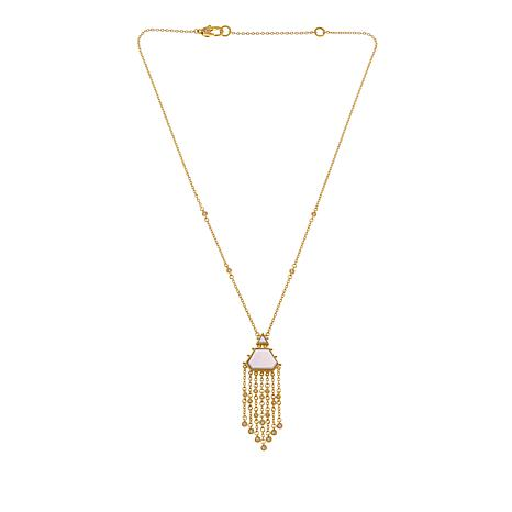 Judith Ripka 14K Gold Clad Mother-of-Pearl Diamonique Tassel Necklace