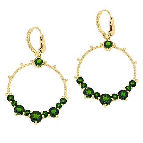 Judith Ripka 14K Gold-Plated Chrome Diopside Doorknocker Earrings
