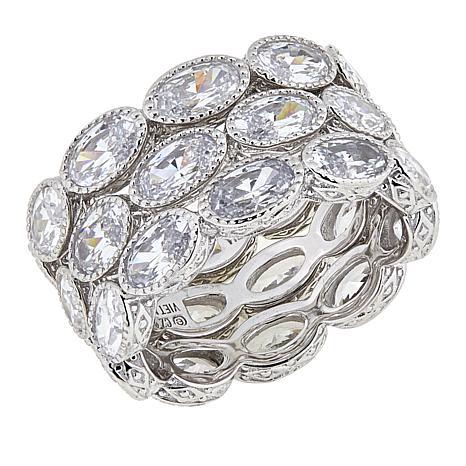 Judith Ripka Set of 3 Oval Diamonique® Eternity Band Rings