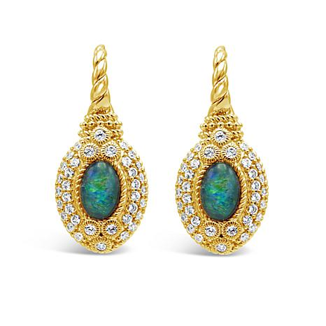 Judith Ripka Sterling or 14K Gold-Clad Opal and Diamonique® Earrings
