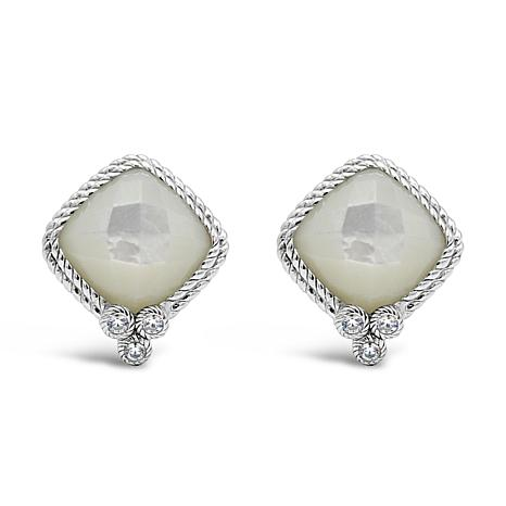 Judith Ripka Sterling Silver Diamonique® and Mother-of-Pearl Earrings