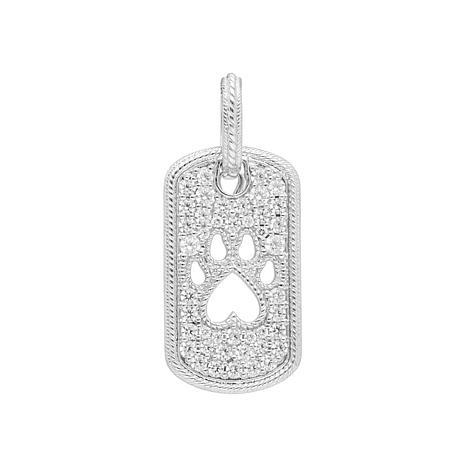 Judith Ripka Sterling Silver Diamonique® Dog Tag Paw Pendant