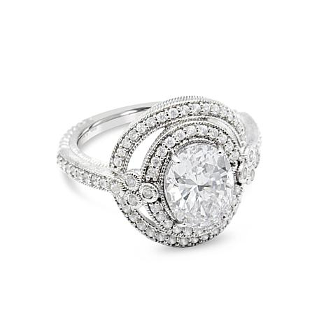 Judith Ripka Sterling Silver Diamonique® Oval Double Halo Ring