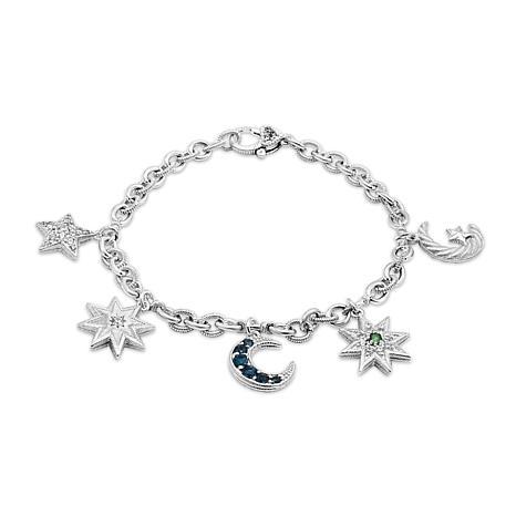 Judith Ripka Sterling Silver Gem and Diamonique® Moon & Stars Bracelet