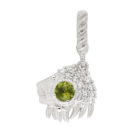 Judith Ripka Sterling Silver Peridot and Diamonique® Leo Zodiac Charm