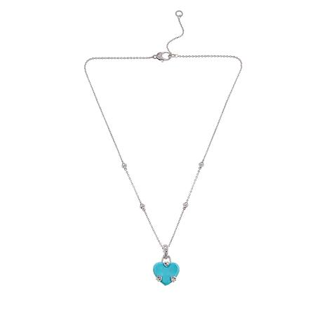 Judith Ripka Sterling Silver Turquoise and Diamonique® Heart Pendant