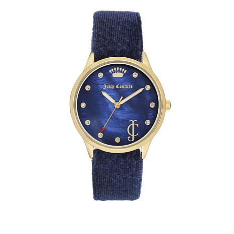 Juicy Couture Blue Mother-of-Pearl Dial Blue Velvet Strap Watch