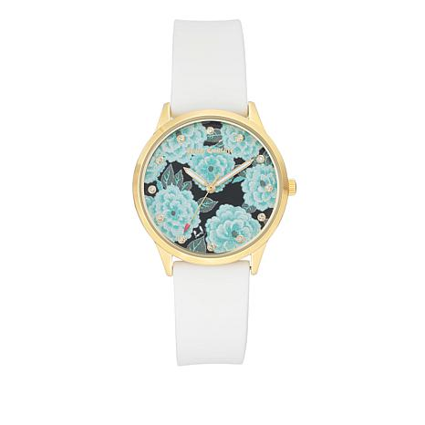 Juicy Couture Flower Design Crystal Marker White Strap Watch