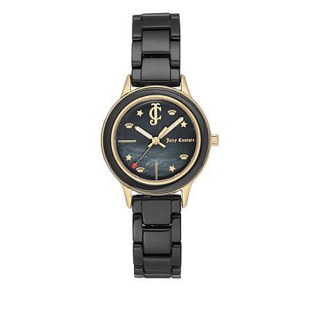Juicy Couture Goldtone Black Dial Black Ceramic Bracelet Watch
