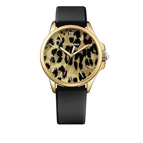 Juicy Couture Jetsetter Leopard Dial Black Strap Watch