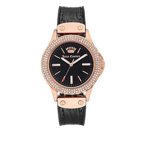Juicy Couture Rosetone Crystal Bezel Black Leather Strap Watch