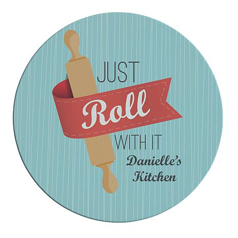 Just Roll With It Round Glass Cutting Board