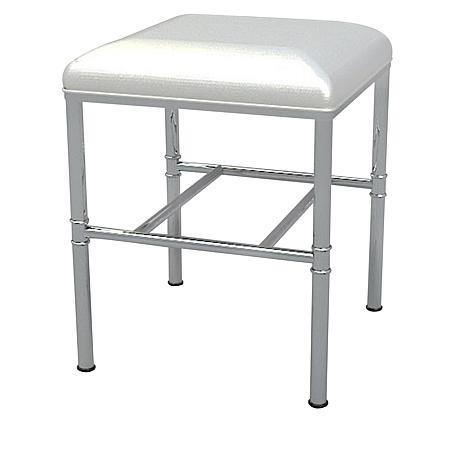 kate chrome vanity stool with white seat