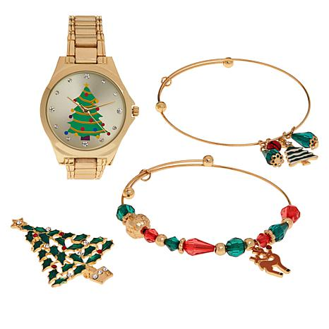 Kessaris Christmas Tree Watch and Jewelry Set