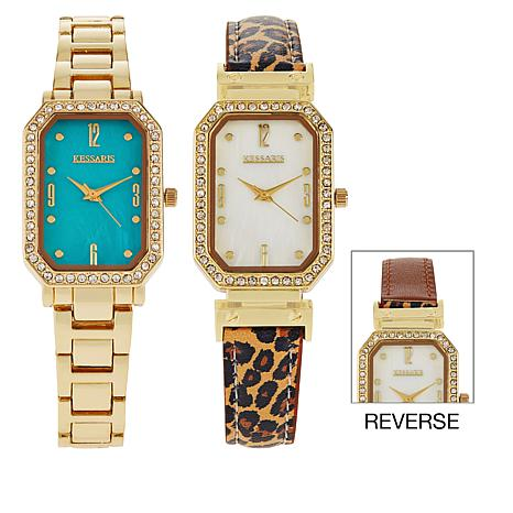 Kessaris Set of 2 Mother-of-Pearl Dial Watches with Reversible Strap