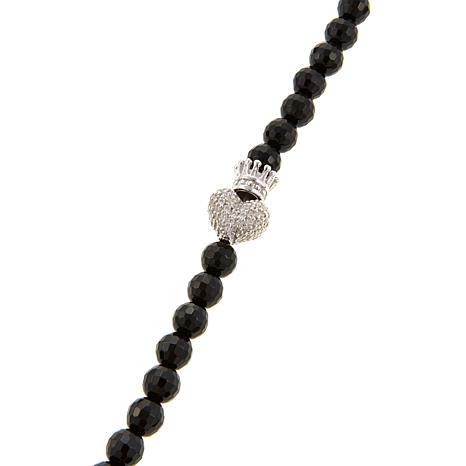 King Baby Jewelry Sterling Silver Cz Crowned Heart Onyx Bead 36