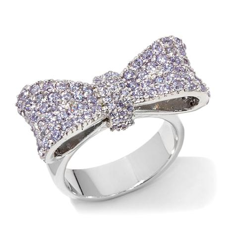 King Baby Jewelry 1 56ctw Pavé Cz Sterling Silver Bow Ring