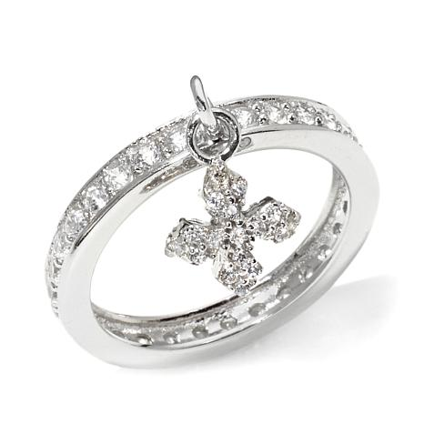 King Baby Jewelry .81ct CZ Cross Sterling Silver Charm ...