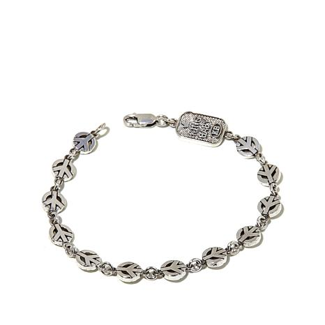 King Baby Jewelry Sterling Silver Peace Sign Bracelet