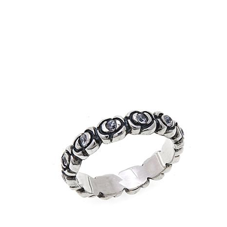 King Baby Sterling Silver Infinity Rose CZ-Accent Band Ring