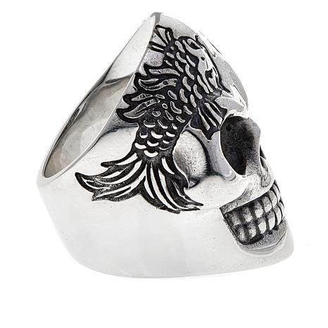 King baby jewelry sterling silver men 39 s koi fish skull for Koi fish ring
