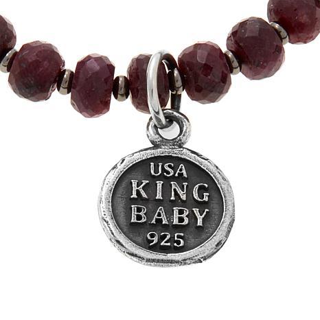 52fad0e8f62a6 King Baby Sterling Silver Ruby Bead Crowned Heart Bracelet