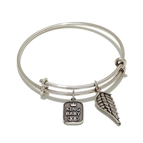 King Baby Jewelry Sterling Silver Wing Charm Bangle Bracelet