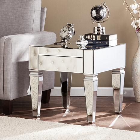 Knightly Contemporary Mirrored Square End Table