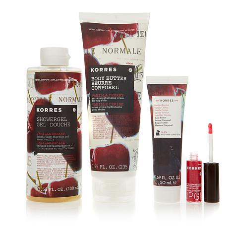 Korres Cherry Body & Lip 4-piece Hydration Kit