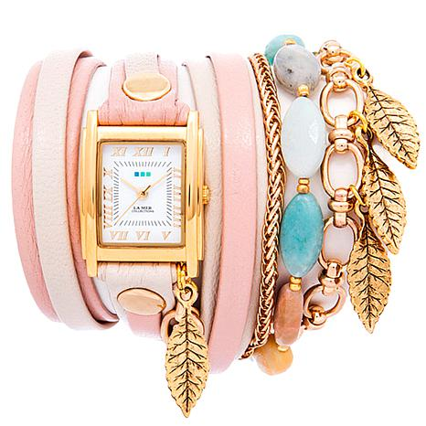 La Mer Aspen Leaf Leather Wrap Watch