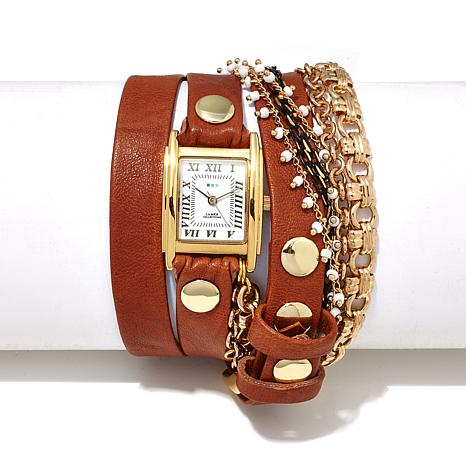La Mer Pollara Goldtone Chain Leather Wrap Watch