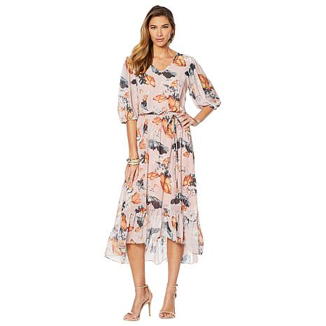 LaBellum by Hillary Scott Ruffled Hem High-Low Maxi