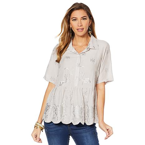 LaBellum by Hillary Scott Scalloped Hem with Embroidered Top