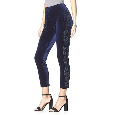 LaBellum by Hillary Scott Sequin Trimmed Slim Pant