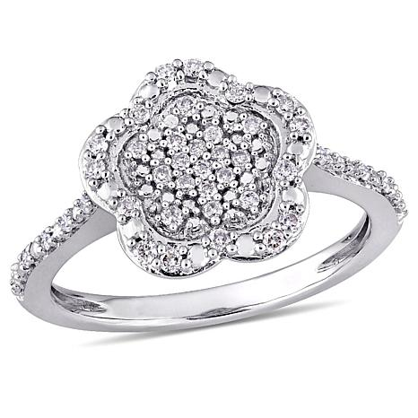 Laura Ashley 0255ctw Diamond Cluster Flower 10k White Gold Ring