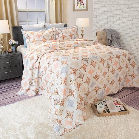 Lavish Home 3-piece Charlotte Quilt Set - King