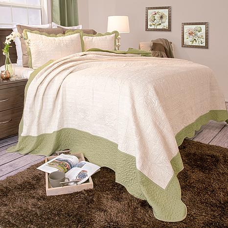 Lavish Home 3pc Jeana Embroidered Quilt Set-Full/Queen