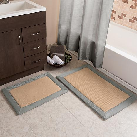 Lavish Home Faux Linen Memory Foam Bath Mat 2-piece Set