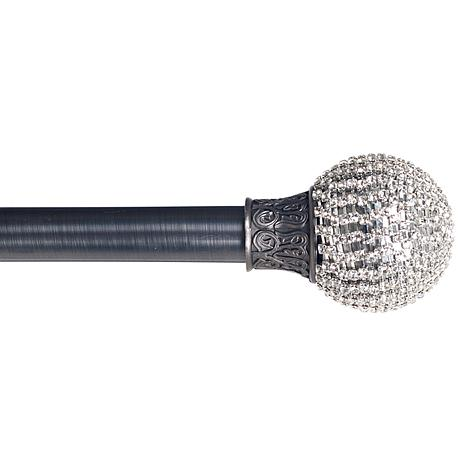 "Lavish Home Sparkling Ball 48""-86"" Curtain Rod-Pewter"