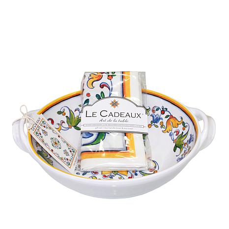 Le Cadeaux Capri Two-Handle Bowl and Tea Towel Set