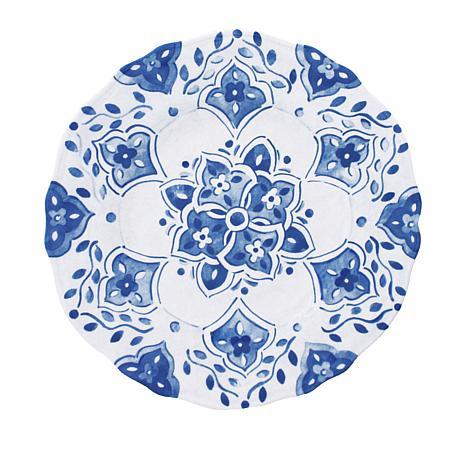 Le Cadeaux Moroccan Blue 4-piece Salad Plate Set