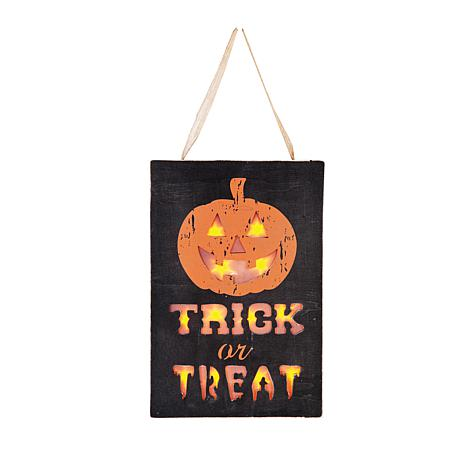 LED Trick Or Treat Wall Hanging
