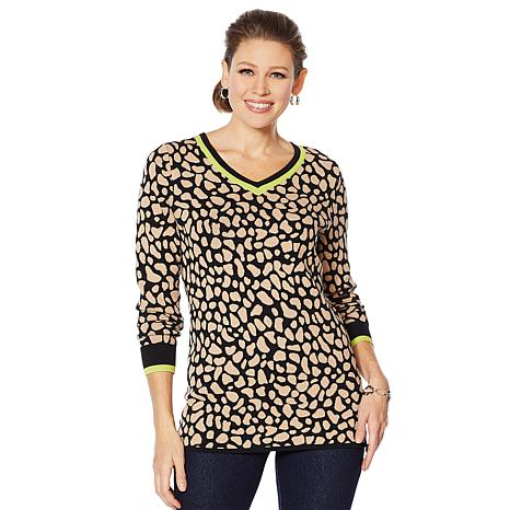 Lemon Way Animal Print Varsity Sweater