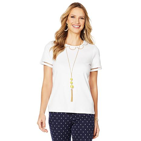 Lemon Way Perfect Pima Scallop-Detail Tee