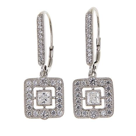 Leslie Greene 1.34ctw Cubic Zirconia Square Drop Earrings