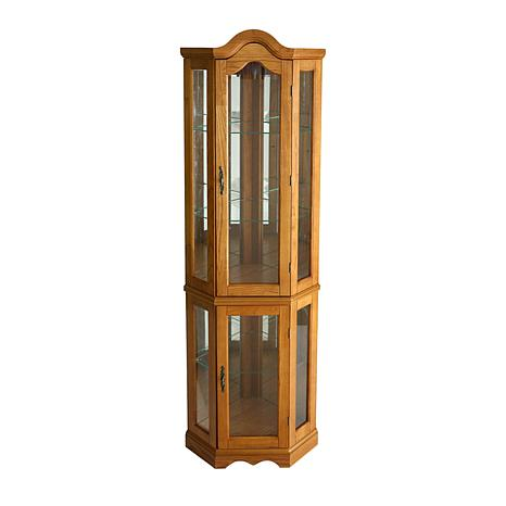 Lighted Corner Curio Cabinet Golden Oak 6221876 Hsn
