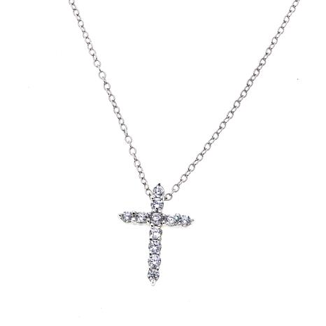 Lily Nily Girl's 0.66ctw CZ Cross Sterling Silver Pendant with Chain