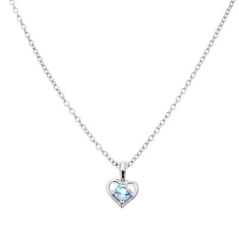 "Lily Nily Girl's .18ctw Blue Topaz Heart Pendant with 13"" Chain"