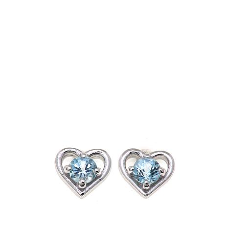 Lily Nily Girl's .36ctw Blue Topaz Heart Stud Earrings